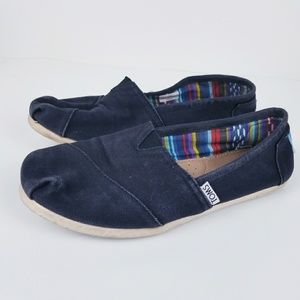 Toms black slip on loafer shoe size 7